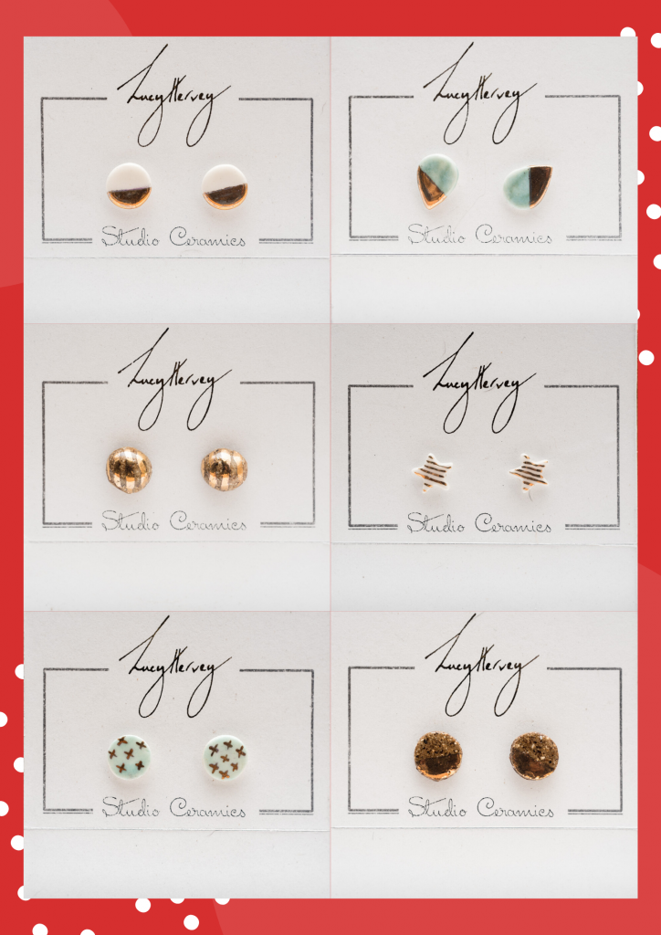 Lucy Hervey earrings grid of 6 photos with Christmas background