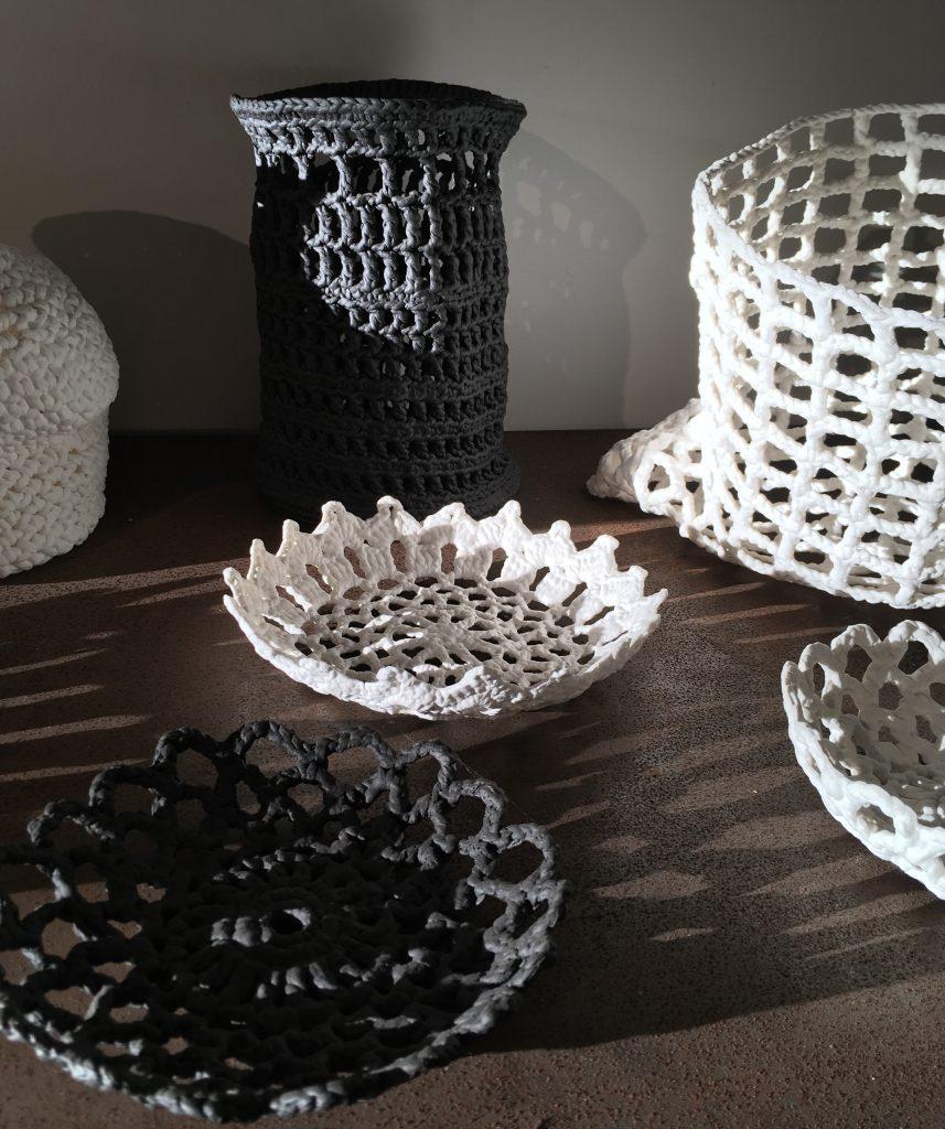 Porcelain dipped textile form